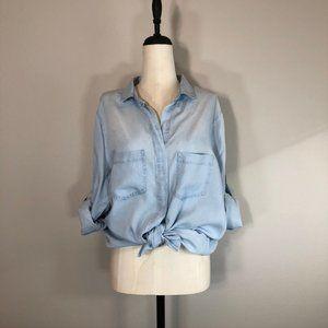 Cotton On Chambray Roll Tab Sleeve Lyocell Shirt